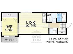 阪急宝塚本線 岡町駅 徒歩8分の賃貸マンション 2階1LDKの間取り
