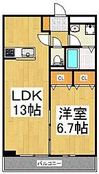 リブリ・Ajisai[1階]の間取り