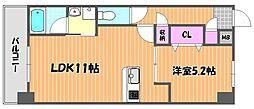 JR宇野線 備前西市駅 徒歩6分の賃貸マンション 3階1LDKの間取り