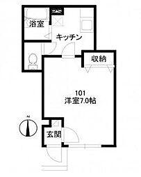 東京都大田区大森西2丁目の賃貸アパートの間取り