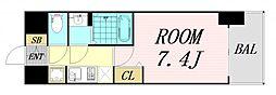 ファステート難波グランプリ 12階1Kの間取り