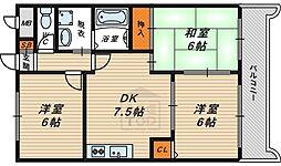 Osaka Metro長堀鶴見緑地線 横堤駅 徒歩6分の賃貸マンション 6階3DKの間取り