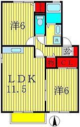 セジュール御堂の上D[2階]の間取り