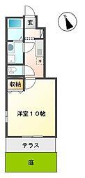 小田急小田原線 海老名駅 徒歩18分の賃貸アパート 1階1Kの間取り