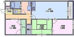 シャトー三島 4階3LDKの間取り