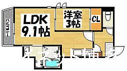 西鉄天神大牟田線 雑餉隈駅 徒歩8分の賃貸アパート 1階1LDKの間取り