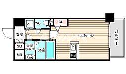 アドバンス西梅田2 5階ワンルームの間取り