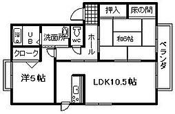 ディライト新家B棟[202号室]の間取り