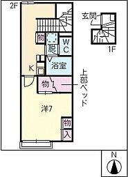 レオパレスコンフォートB[2階]の間取り