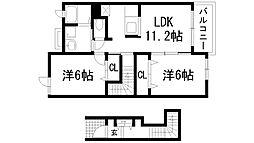 兵庫県川西市笹部3丁目の賃貸アパートの間取り