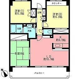 神奈川県厚木市岡田2丁目の賃貸マンションの間取り