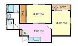 JR南武線 矢向駅 徒歩10分の賃貸マンション 3階2DKの間取り