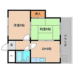 奈良県大和高田市本郷町の賃貸マンションの間取り