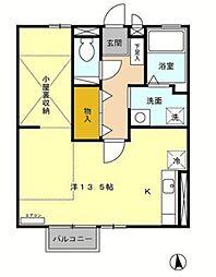 エクレールS 2階ワンルームの間取り