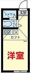京急本線 上大岡駅 徒歩20分の賃貸アパート 2階ワンルームの間取り