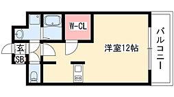 プレサンス栄ブリオ 6階1Kの間取り