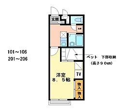兵庫県加古郡播磨町古宮秋ケ池下の賃貸アパートの間取り