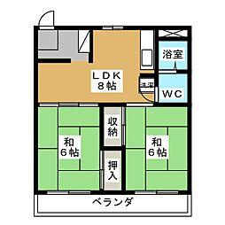 コーポ静岡[4階]の間取り