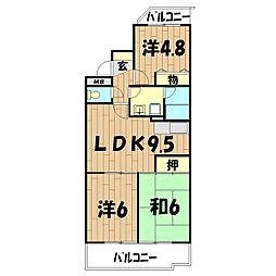 ロイヤル二俣川B棟[1階]の間取り