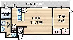 北大阪急行電鉄 緑地公園駅 徒歩15分の賃貸マンション 3階1LDKの間取り