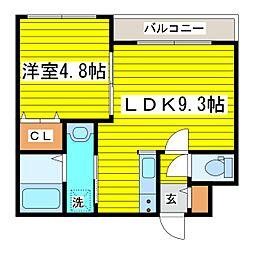 札幌市営東豊線 北13条東駅 徒歩1分の賃貸マンション 4階1LDKの間取り