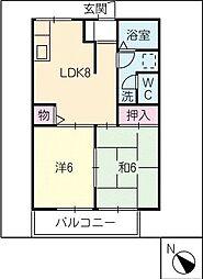 ソレアードA棟[2階]の間取り