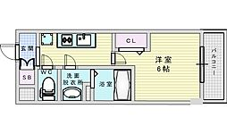 Osaka Metro御堂筋線 西中島南方駅 徒歩4分の賃貸マンション 12階1Kの間取り