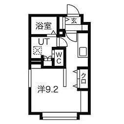 札幌市営東西線 西11丁目駅 徒歩10分の賃貸マンション 2階1Kの間取り