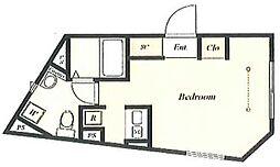 グランパークス本郷 4階ワンルームの間取り