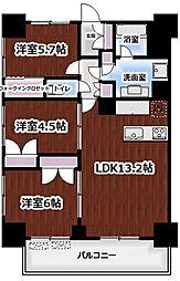 LIGHT TERRACE新宿御苑 16階3LDKの間取り