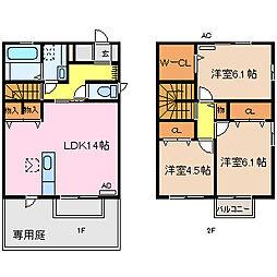 [テラスハウス] 徳島県徳島市春日3丁目 の賃貸【/】の間取り