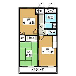 サンコート南仙台[1階]の間取り