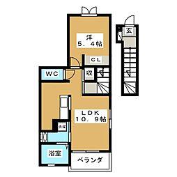 静岡県富士宮市三園平の賃貸アパートの間取り