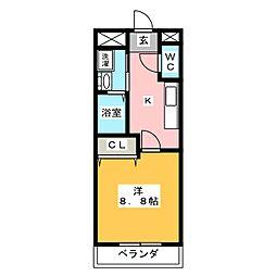 エトワール鴻之台 1階1Kの間取り