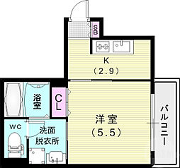 コウリュウマンション 7階1Kの間取り