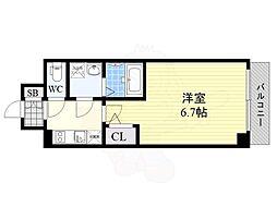 エスリード大阪梅田WEST 3階1Kの間取り