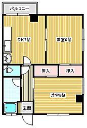 ウエノ第一マンション[402号室]の間取り