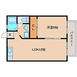 静岡県静岡市清水区庄福町の賃貸アパートの間取り