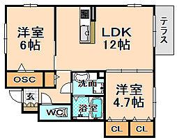兵庫県伊丹市荒牧7丁目の賃貸アパートの間取り