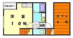福岡県福岡市東区土井3丁目の賃貸アパートの間取り