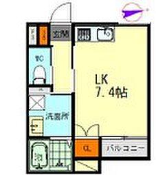 メゾンソレイユ名駅西 1階1Kの間取り