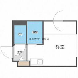 ゲストハウス花川 1階ワンルームの間取り