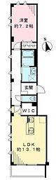 都営新宿線 篠崎駅 徒歩20分の賃貸マンション 1階1LDKの間取り