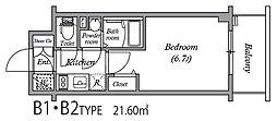エスリード中之島ザ・コア 6階1Kの間取り
