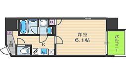JR東西線 大阪天満宮駅 徒歩3分の賃貸マンション 7階1Kの間取り