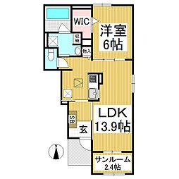 長野電鉄長野線 須坂駅 徒歩19分の賃貸アパート 1階1LDKの間取り