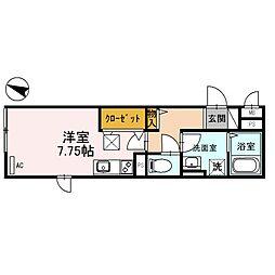 東京メトロ丸ノ内線 方南町駅 徒歩3分の賃貸アパート 1階ワンルームの間取り