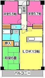 グリシーヌ東所沢[2階]の間取り