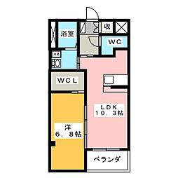 ベレッツァ久米[1階]の間取り