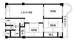 東朋第一マンション[607号室]の間取り
